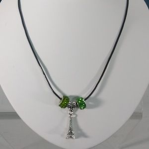 Jewelry - Silver European Bead & Charm Leather Necklace